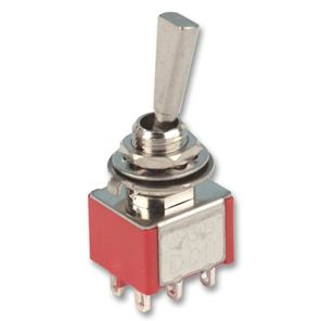 Afbeelding van 6 polige mini toggle switch ON-ON 'flat lever'