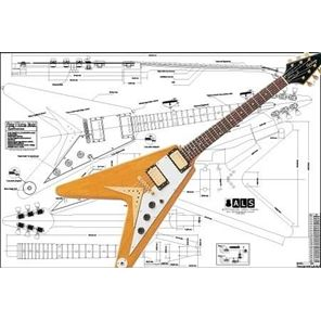 Afbeelding van Gibson Flying V Korina Bouwtekening